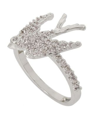 BETSEY BLUE LOVE BIRDS DOVE RING CRYSTAL