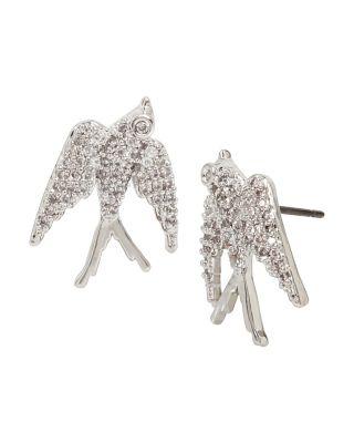 Betsey Blue Love Birds Dove Stud Earrings Crystal