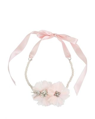 Image of BETSEY BLUE LOVE BIRDS FEATHER CHOKER PINK