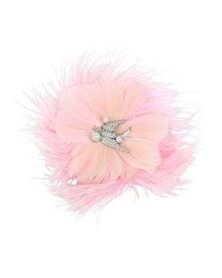 BETSEY BLUE LOVE BIRDS FEATHER HAIR CLIP PINK