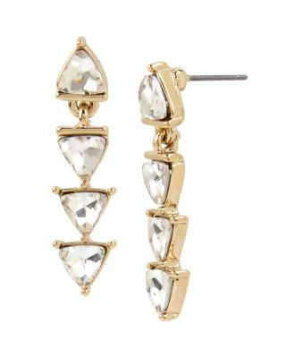 Image of BETSEY BLUE LOVE LETTERS GOLD LINEAR EARRINGS GOLD