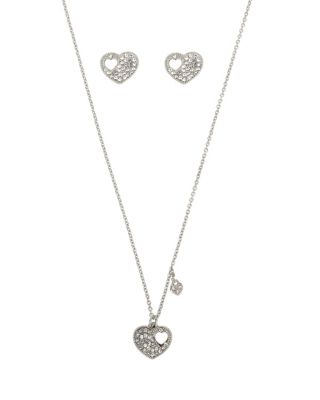 Image of BETSEY BLUE LOVE LETTERS SILVER HEART SET SILVER