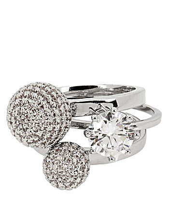 BETSEY BLUE PAVE BALL RING SET OF THREE