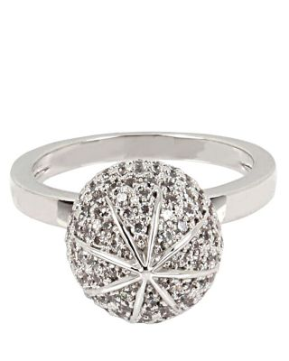 BETSEY BLUE PAVE BALL RING SET CRYSTAL