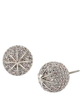 BETSEY BLUE PAVE BALL STUD EARRINGS CRYSTAL