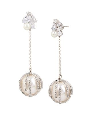 BETSEY BLUE PEARL LINEAR BALL EARRINGS CRYSTAL