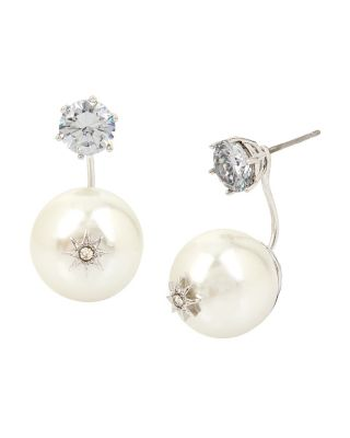 BETSEY BLUE PEARL STAR FRONT BACK EARRINGS CRYSTAL