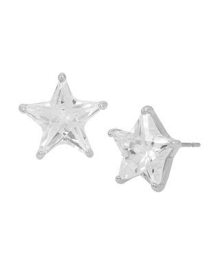 Betsey Blue Silver Star Stud Earrings Crystal