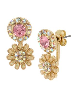 Image of BETSEY BLUE TICKLED PINK FLOWER FRONT BACK EARRINGS PINK