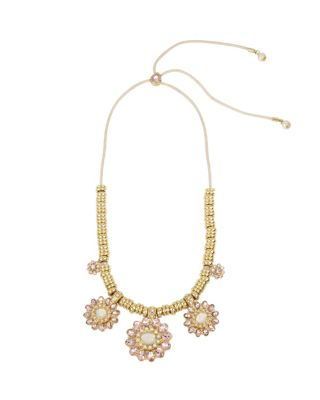 BETSEY BLUE TICKLED PINK FLOWER NECKLACE PINK