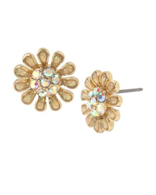 Image of BETSEY BLUE TICKLED PINK FLOWER STUD EARRINGS YELLOW