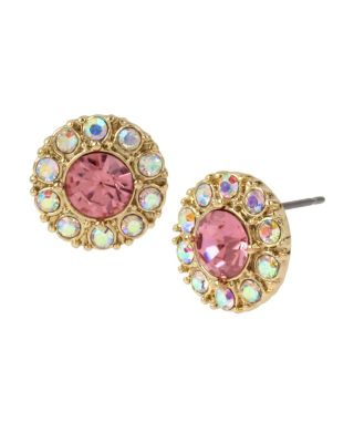 Image of BETSEY BLUE TICKLED PINK HALO STUD EARRINGS PINK