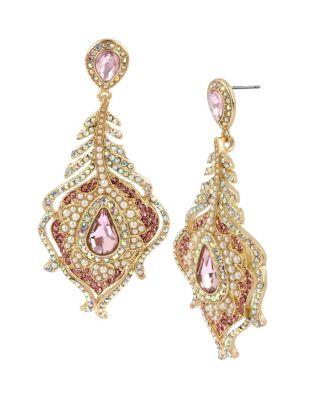 Betsey blue tickled pink peacock earrings pink