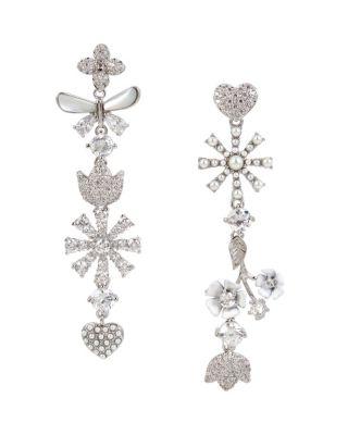 Betsey Blue Vintage Floral Linear Earrings Crystal