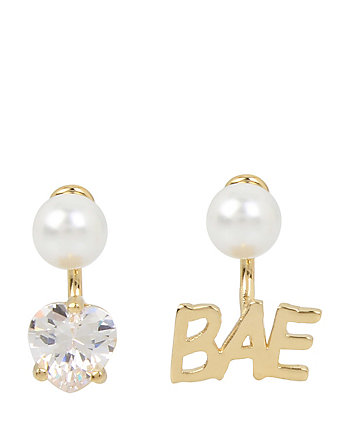 BETSEY BLUE WORD PLAY BAE GOLD EARRINGS