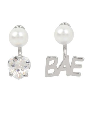 Betsey Blue Word Play Bae Silver Earrings Silver