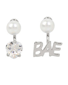 BETSEY BLUE WORD PLAY BAE SILVER EARRINGS