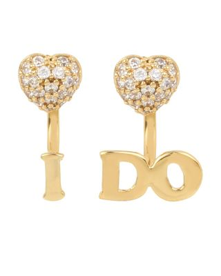 BETSEY BLUE WORD PLAY I DO EARRINGS CRYSTAL