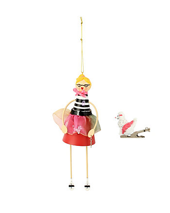 BETSEY GIFTING FIFTIES GIRL AND POODLE ORNAMENT