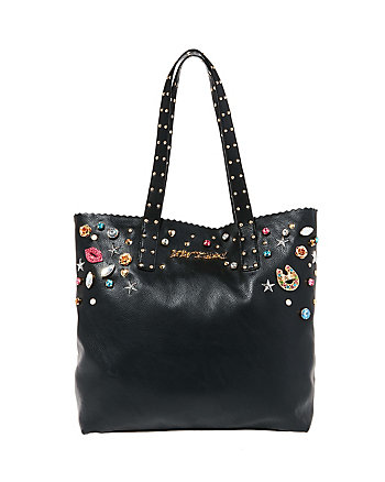 BETSEYS BAUBLES PEARLY JEWELED TOTE