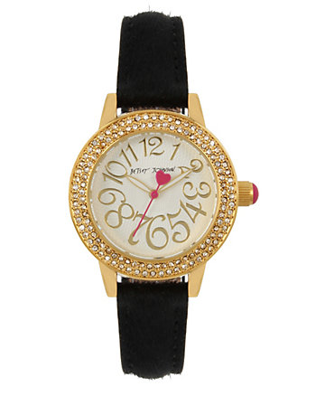 BETSEYS BOXED BLACK FUR STRAP WATCH