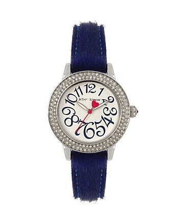 BETSEYS BOXED BLUE FUR STRAP WATCH