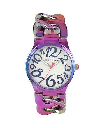 BETSEYS BOXED OIL SLICK LINK WATCH