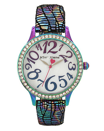 BETSEYS BOXED OIL SLICK STRAP WATCH