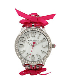 BETSEYS BOXED PLAID AND BOW WATCH