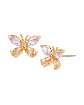 "Peach and lavender crystals come together on these sparkly butterfly studs. The rose gold setting is the perfect contrast to the bright crystals. Crystal and peach colored CZ stone butterfly studs with gold tone details Post back Antique gold plating Metal/CZ Length: 0.3"" Width: 0.5"""