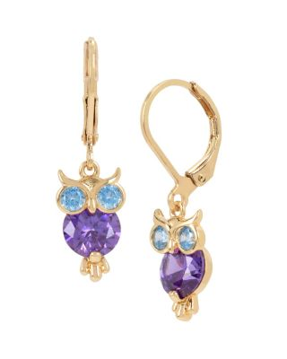 BETSEYS CRITTERS OWL DROP EARRINGS PURPLE
