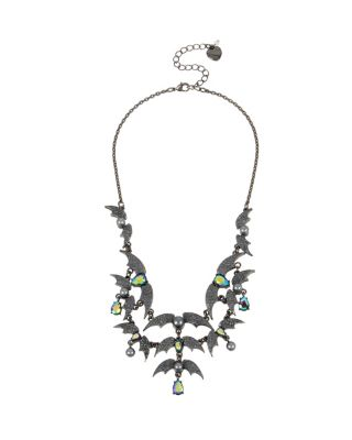 BETSEYS DARK MAGIC BAT BIB NECKLACE BLACK