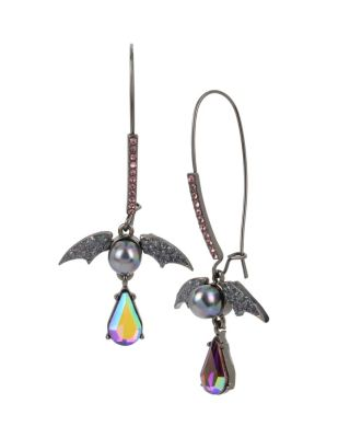 BETSEYS DARK MAGIC BAT HOOK EARRINGS BLACK