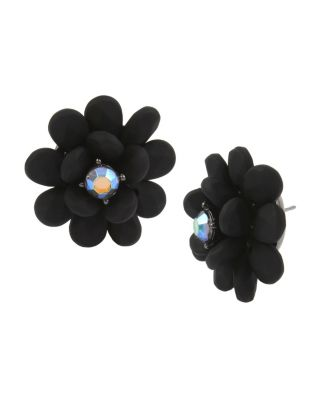 BETSEYS DARK MAGIC BUTTON EARRINGS BLACK