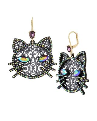 BETSEYS DARK MAGIC CAT EARRINGS BLACK