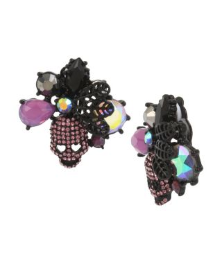 BETSEYS DARK MAGIC CLUSTER CLIP EARRINGS PURPLE