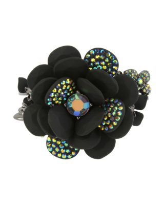 BETSEYS DARK MAGIC FLOWER BANGLE BLACK