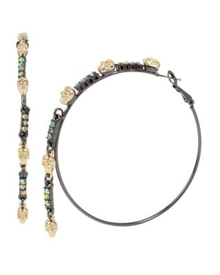 Image of BETSEYS DARK MAGIC HOOP EARRINGS CRYSTAL