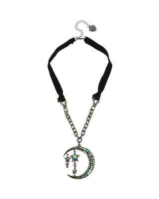Image of BETSEYS DARK MAGIC MOON PENDANT BLACK
