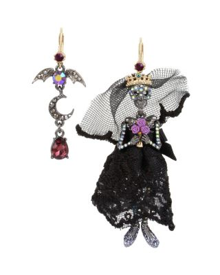 Image of BETSEYS DARK MAGIC SKELETON EARRINGS BLACK