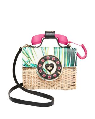 Image of BETSEYS WICKER PHONE BAG MAGENTA