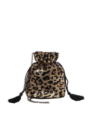 Betsified drawstring pouch leopard