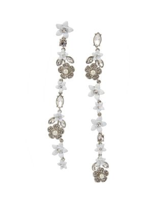 Image of BLUE KITSCH FLOWER LINEAR EARRINGS CRYSTAL