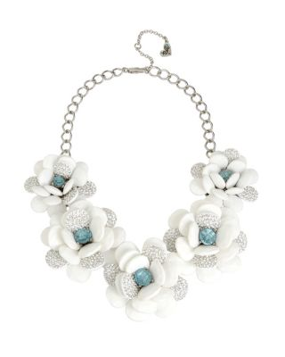 BLUE LA LA FLOWER STATEMENT NECKLACE BLUE
