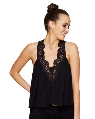 BOHO BALL LACE TRIM TANK BLACK