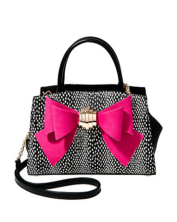 BOW YOU SEE IT DOTTY REMOVABLE BOW SATCHEL