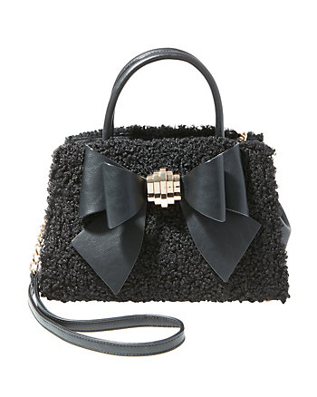 BOW YOU SEE IT FUZZY REMOVABLE BOW SATCHEL