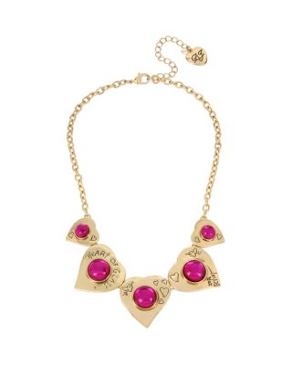 BREAKING HEARTS FRONTAL NECKLACE PINK