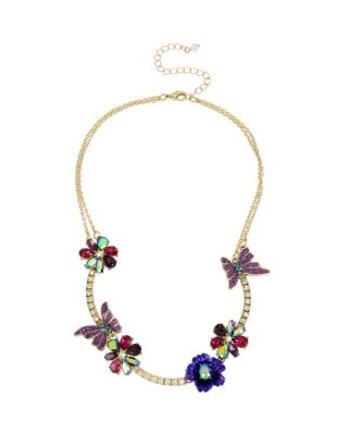 BUTTERFLY BLITZ FLOWER FRONTAL NECKLACE PURPLE