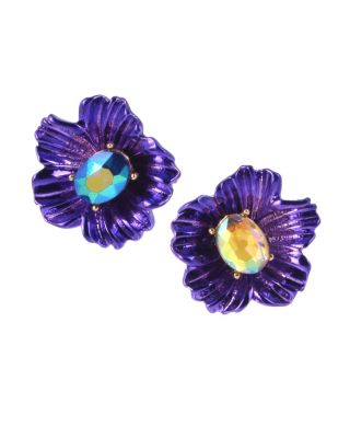 BUTTERFLY BLITZ FLOWER STUD EARRINGS PURPLE